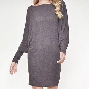 Charcoal Dolman One Shoulder Knit Dress